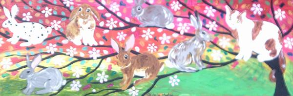 Rabbits and a Cat on a Sparkly Tree of Life by Casimira Mostyn