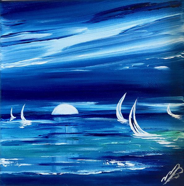 Study in blue. Sailing by the rising moon by Marja Brown
