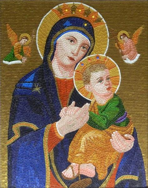 Mother of Perpetual Help - glass micro mosaic art, mixed media glass mosaic byzantine icon