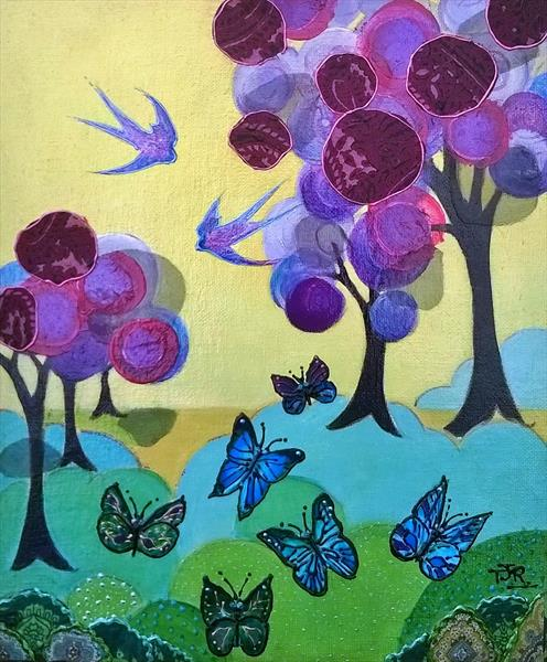 Dancing Deco Meadow by Theresa  Robinson