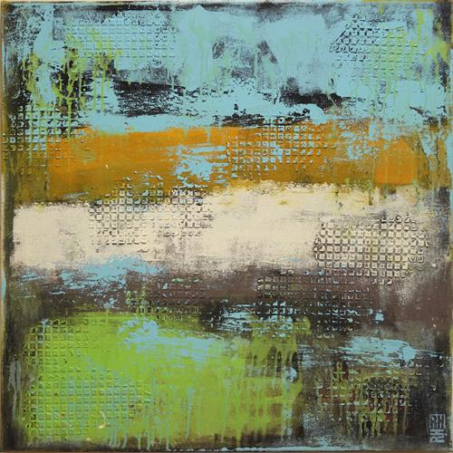 Abstract Painting - Square Green & Turquoise - C36 by Ronald Hunter