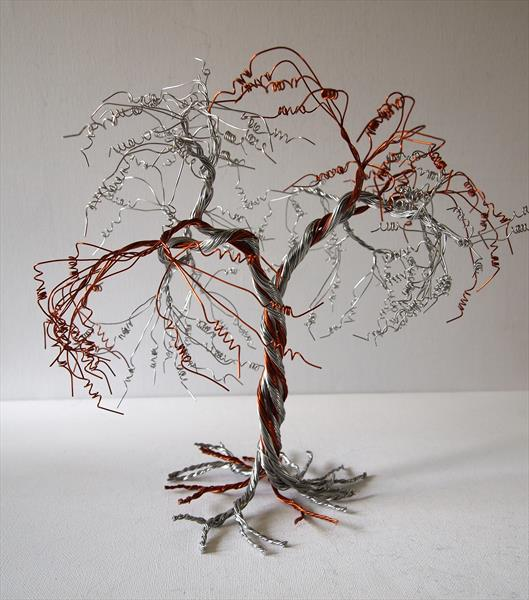 Silver & Caramel Tree sculpture by Steph Morgan