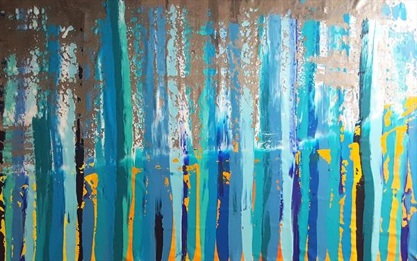 Everything gonna be ok - XXL blue and orange abstract by Ivana Olbricht