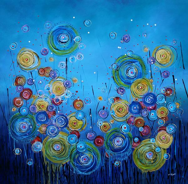 Wonderstorm The New Wave #1 - Large original floral painting by Cecilia Frigati