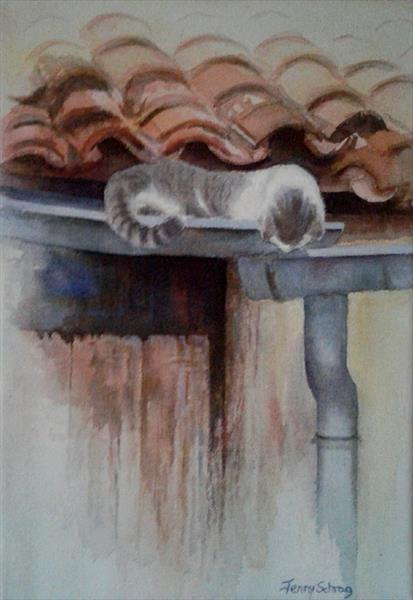 Cat on the roof by Jenny Schrag