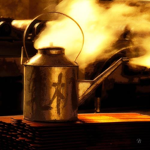 Kettle Boiling on Hot Springs. China. by Georgina Bowater