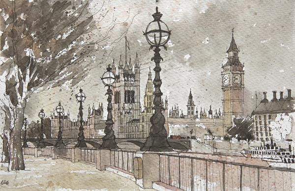 LONDON, HOUSES OF PARLIAMENT AND WESTMINSTER BRIDGE (BANKSIDE)