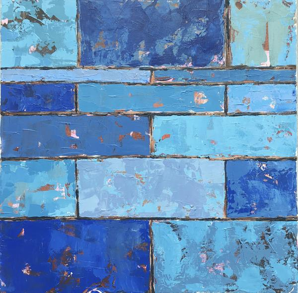 Wall - blue abstract by Louise Gillard