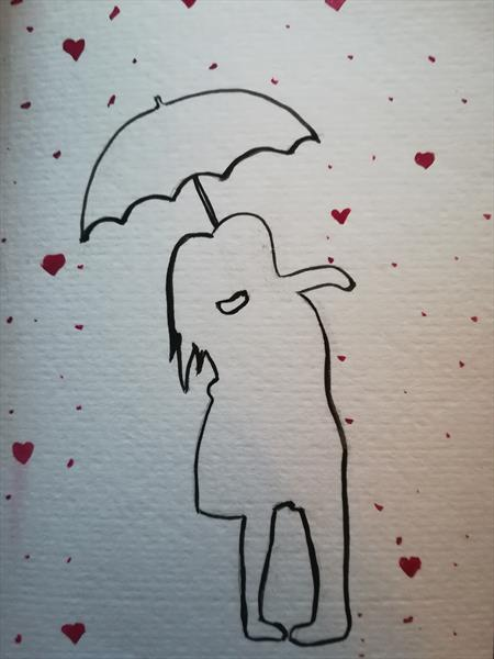 Couple In The Rain by Lucy Kidson