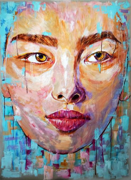 FACE OF ASIA / XL 150 CM X 107 CM PORTRAIT PAINTING ON PAPER by Anna Sidi-Yacoub