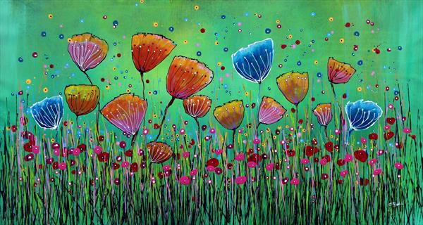Young Folks #7 - Large original floral painting by Cecilia Frigati