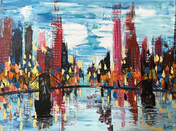 Modern City With Bridge Abstract Painting 106 by  Rizna  Munsif
