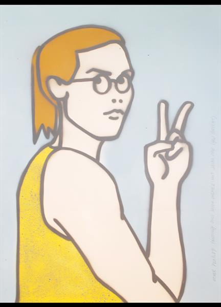 Other People's Paintings Only Much Cheaper: No. 9 Julian Opie (Self Portrait) (On Paper) by Juan Sly