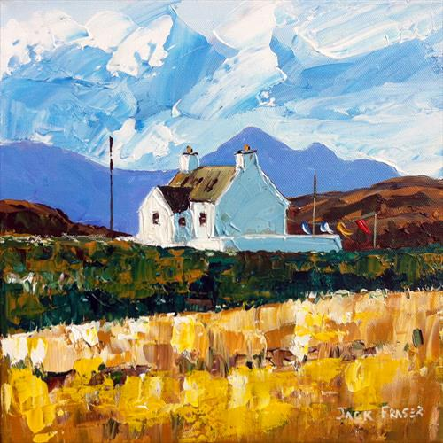 Cottage at Sanna with Rum in Background by jack fraser
