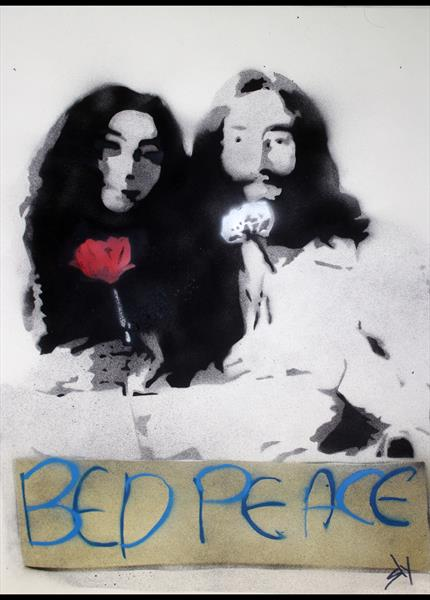 Popiconic Moments No6: Bed Peace. (On Paper)  by Juan Sly