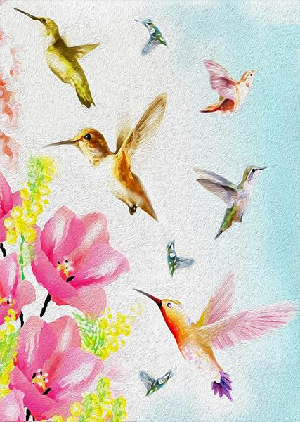 Humming birds by leslie garrett