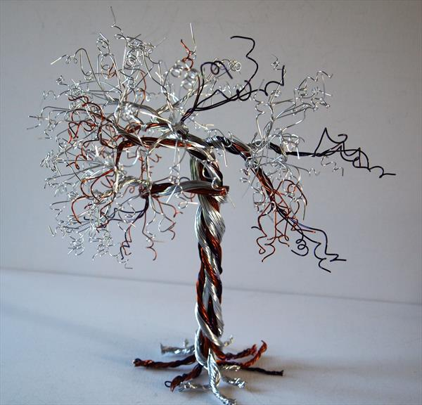 Silver, Caramel & Purple Wire, Tree Sculpture by Steph Morgan
