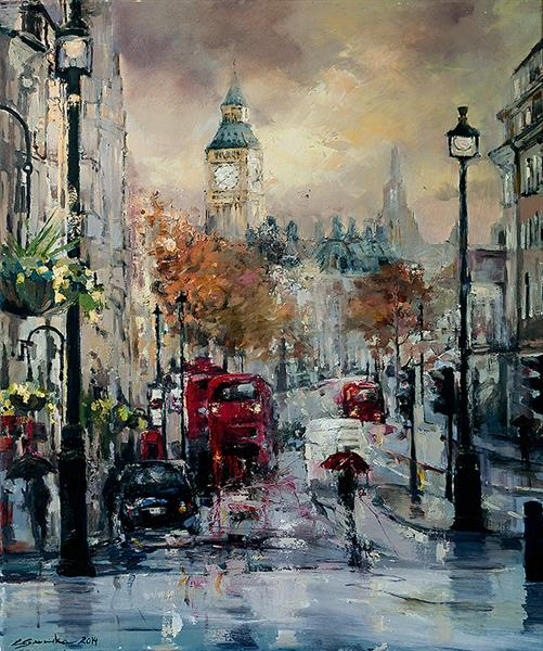 'Stormy London' Canvas Giclée print  by Eva Czarniecka
