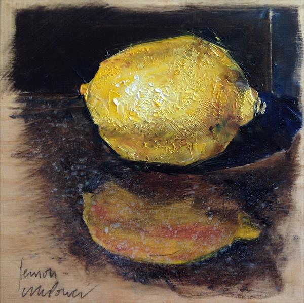 Lemon #01 - framed still life oil painting on board by Luci Power