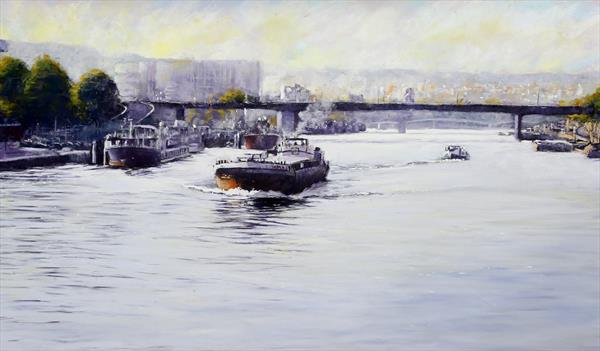 Barge on the River Seine by Brian Halton