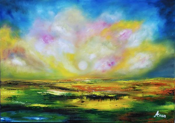 """""""Far away""""-landscape painting  by Florentina(anca)  popescu"""
