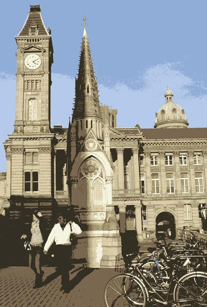 Clock Tower with People by Sue Rowe