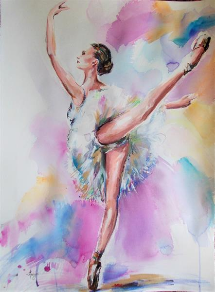 Grace - Ballerina Mixed Media Painting on Paper by Antigoni Tziora