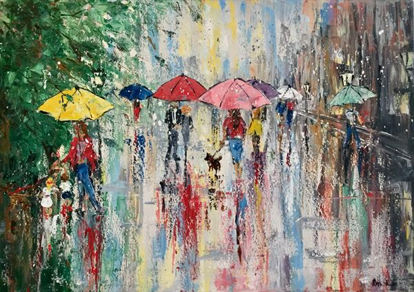 Umbrellas in the rain