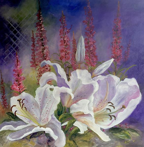 Lilies and Lythrum by Eileen Hood