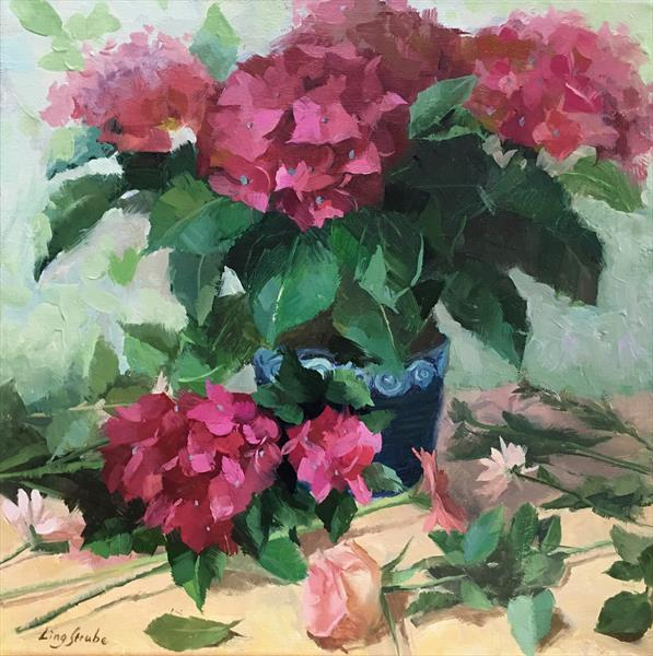 Red Hydrangeas (frame) by Ling Strube