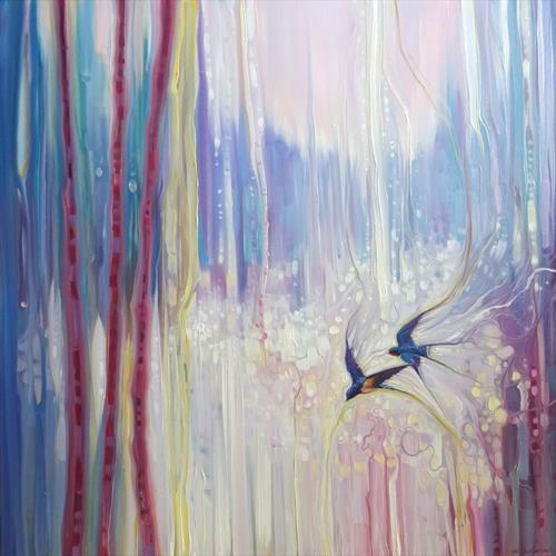 Fleeting Summer - landscape with swallows by Gill Bustamante