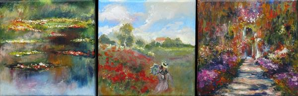 Monet Studies 1 - triptych
