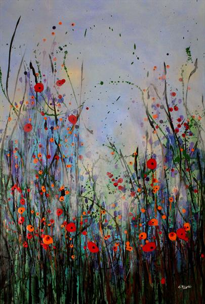 Message of Freedom - Large original floral painting by Cecilia Frigati