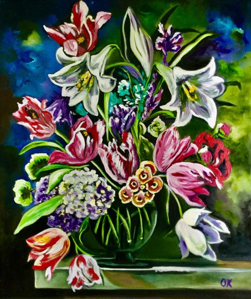 Bouquet of flowers in a vase.  by Olga  Koval