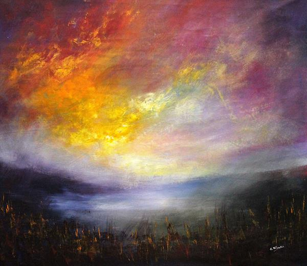 Over The Dark Side #4 - Large original abstract landscape by Cecilia Frigati