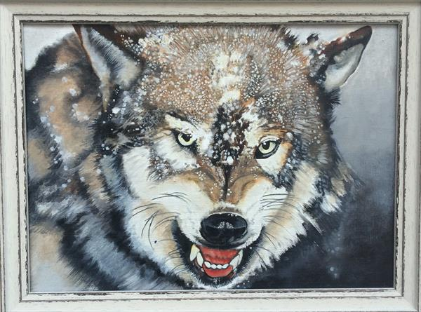 wolf oil painting by gareth miller