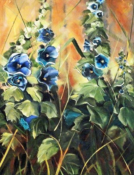 Hollyhock Heros - FRAMED  by Elizabeth Williams