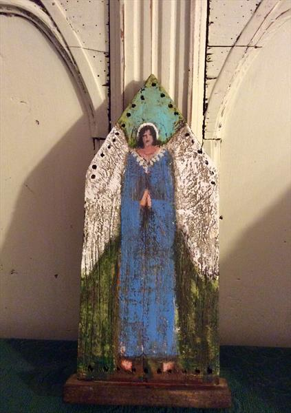 BLUE ANGEL. WOODEN SCULPTURE by Roma Mountjoy