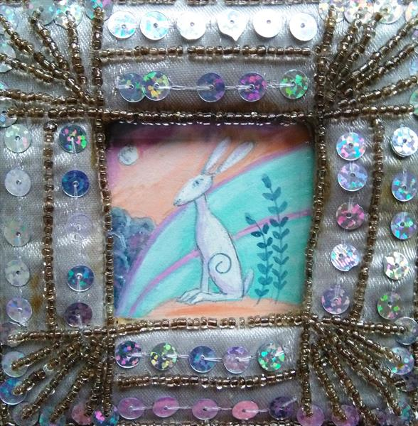 sequined frame hare by Maureen Lacey