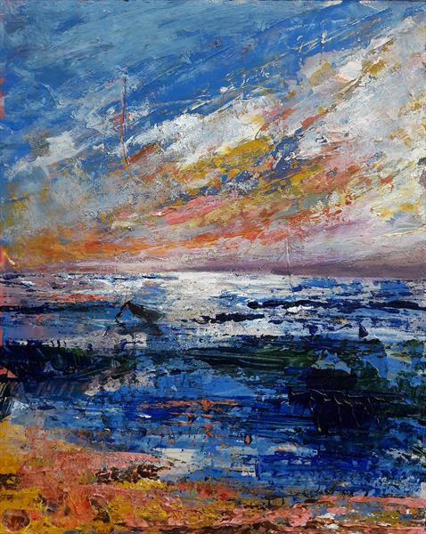 Impressionist seascape with boat by Teresa Tanner