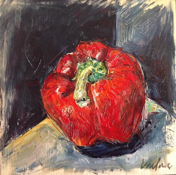 Red pepper - Framed still life oil painting on board by Luci Power