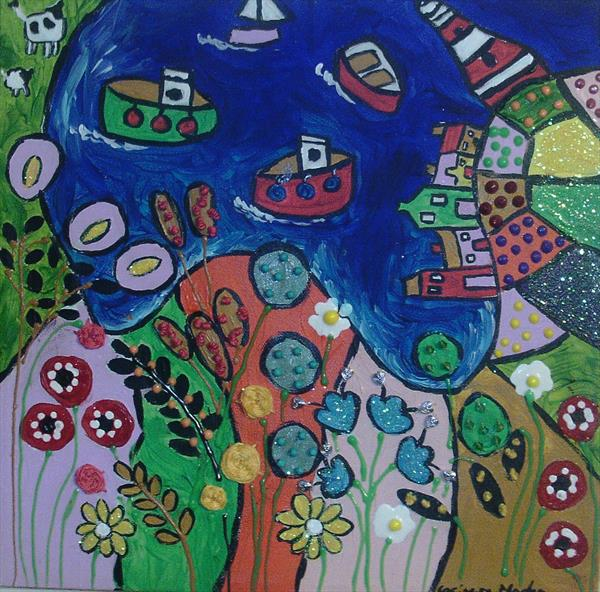 Colourful Naive seascape with embroidered  flowers by Casimira Mostyn