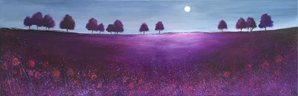 Purple moonlit treeline  by JANE PALMER