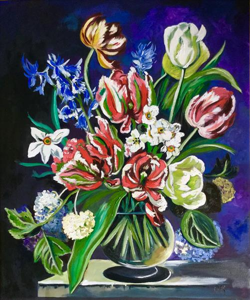 Bouquet of flowers.  Tulips, daffodils, hydrangea  by Olga  Koval