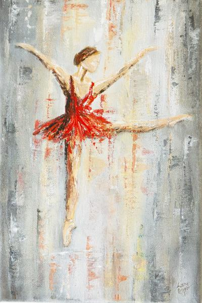 Original acrylic painting on canvas. Red Dancer. by Lizzy Agger