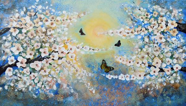 The song of Spring - tree flowers butterflies large painting