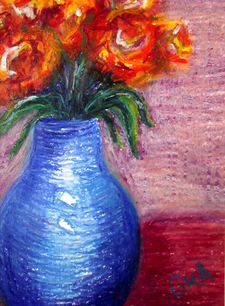 Small blue vase #2 by Gill Aitken