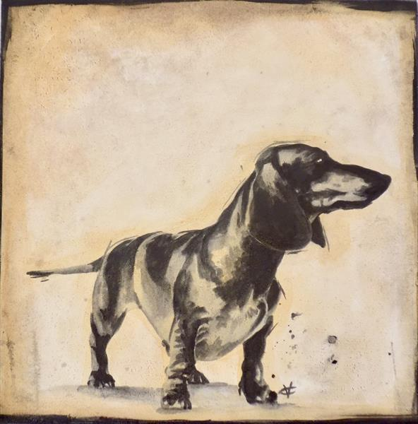 Doxie #1 : dachshund painting by Victoria Coleman