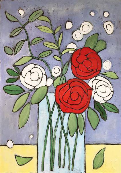 Flowers in a vase I by Eileen Kiely