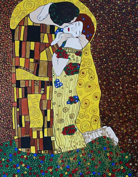 The Kiss, homage to Klimt by rachel olynuk